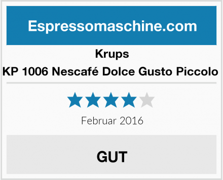 Krups KP 1006 Nescafé Dolce Gusto Piccolo  Test