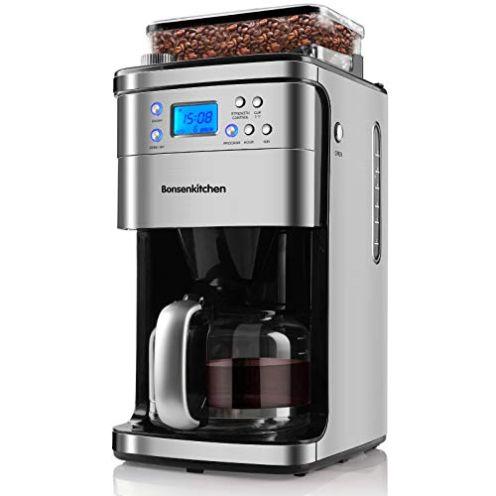 Bonsenkitchen Kaffeemaschine mit Kegelmahlwerk für Grind&Brew